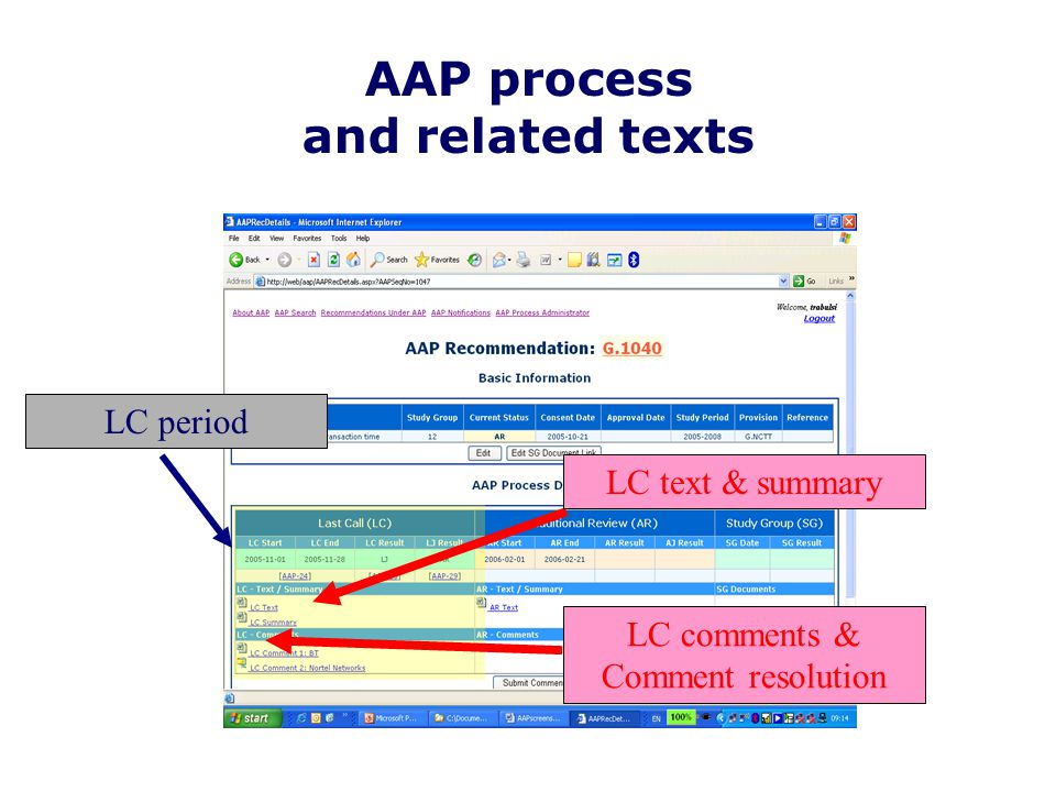 AAP process and related texts LC period LC text & summary LC comments & Comment resolution