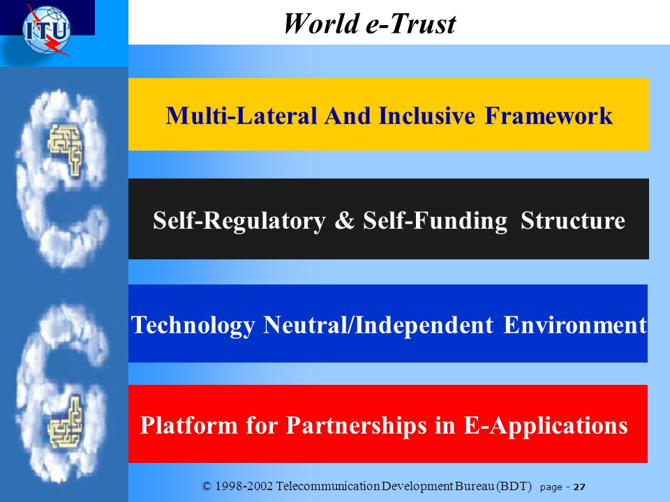 © 1998-2002 Telecommunication Development Bureau (BDT) page - 27 World e-Trust Platform for Partnerships in E-Applications Self-Regulatory & Self-Funding Structure Technology Neutral/Independent Environment Multi-Lateral And Inclusive Framework
