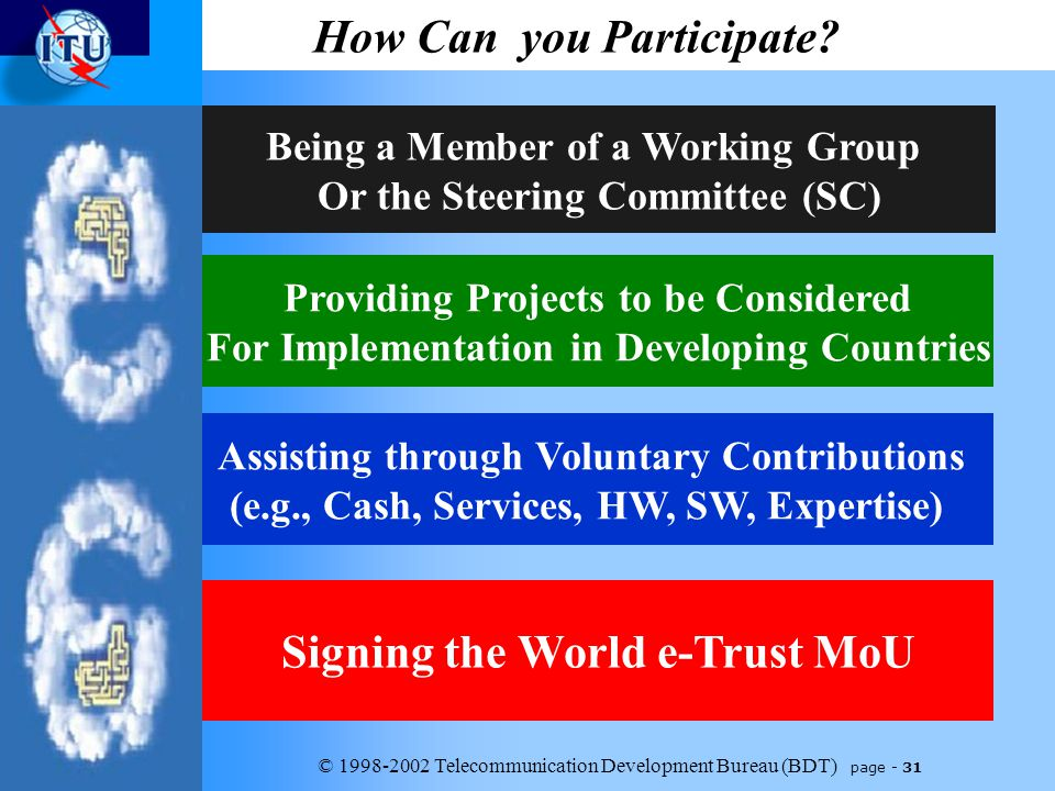 © 1998-2002 Telecommunication Development Bureau (BDT) page - 31 How Can you Participate.