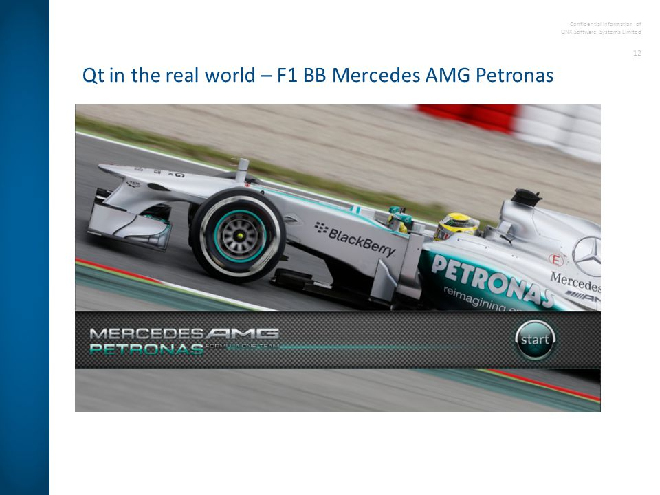 Confidential Information of QNX Software Systems Limited 12 Qt in the real world – F1 BB Mercedes AMG Petronas
