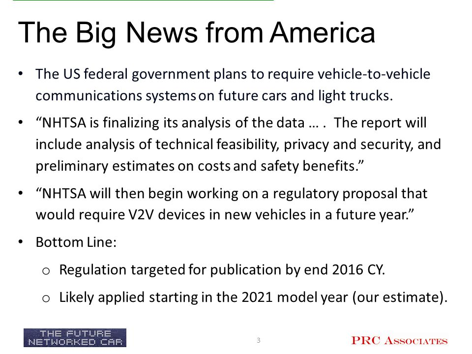 In Vehicles o Navigation o Telematics o Driver Assistance Systems On the Road o Adaptive Traffic Signal Control o Variable Message Signs o Traffic and Roadway Monitoring o Electronic Toll Collection o Travel Demand Management o Coming Next o Cooperative Driving (2021 MY) o Automated Driving (in degrees, 2025-2035) 4 Currently Implemented I.T.S.
