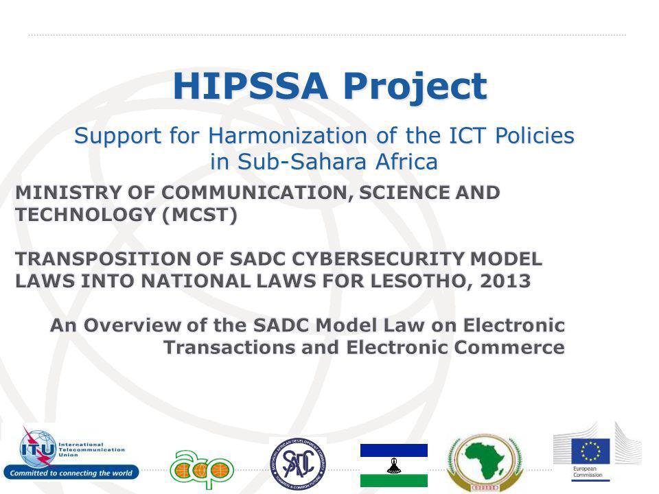 International Telecommunication Union HIPSSA Project Support for Harmonization of the ICT Policies in Sub-Sahara Africa