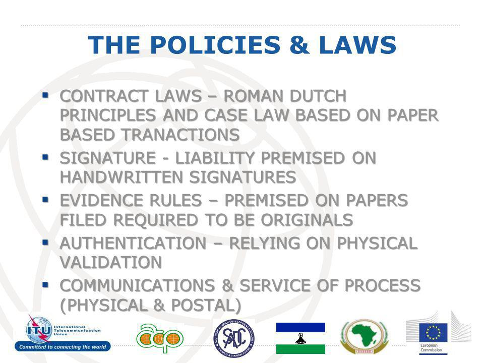 THE POLICIES & LAWS  CONTRACT LAWS – ROMAN DUTCH PRINCIPLES AND CASE LAW BASED ON PAPER BASED TRANACTIONS  SIGNATURE - LIABILITY PREMISED ON HANDWRI