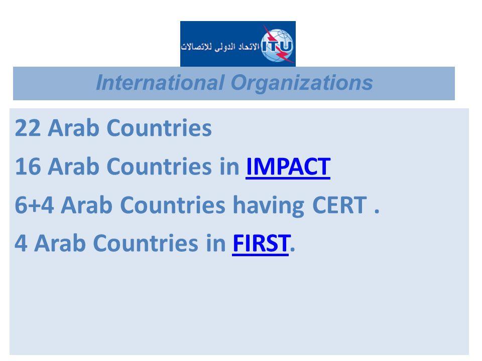 22 Arab Countries 16 Arab Countries in IMPACTIMPACT 6+4 Arab Countries having CERT. 4 Arab Countries in FIRST.FIRST International Organizations