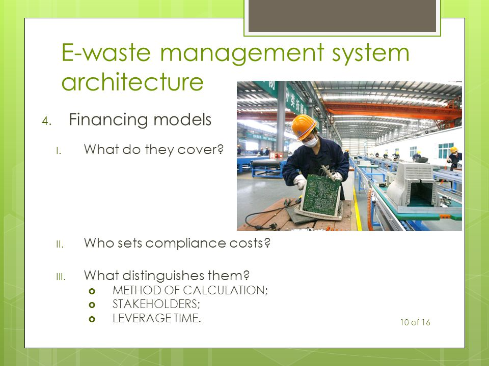 E-waste management system architecture 4. Financing models I.
