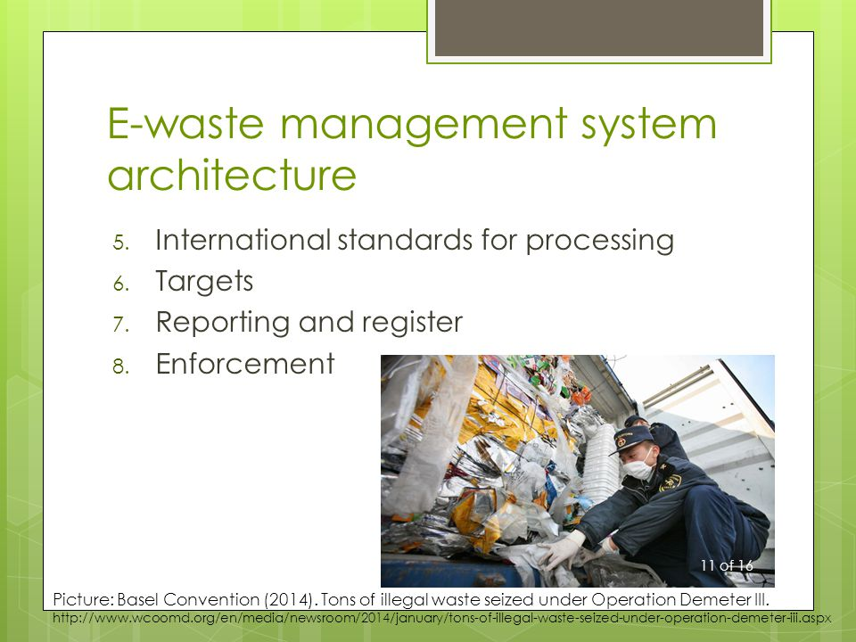 E-waste management system architecture 5. International standards for processing 6.