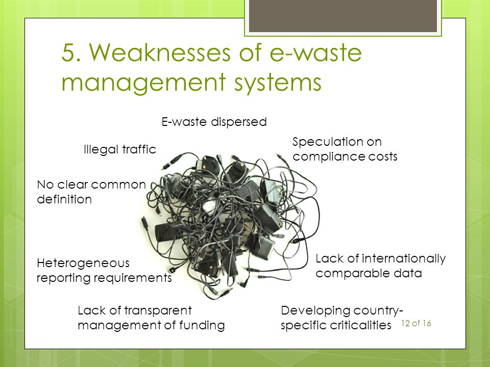 5. Weaknesses of e-waste management systems E-waste dispersed Illegal traffic Lack of transparent management of funding No clear common definition Het