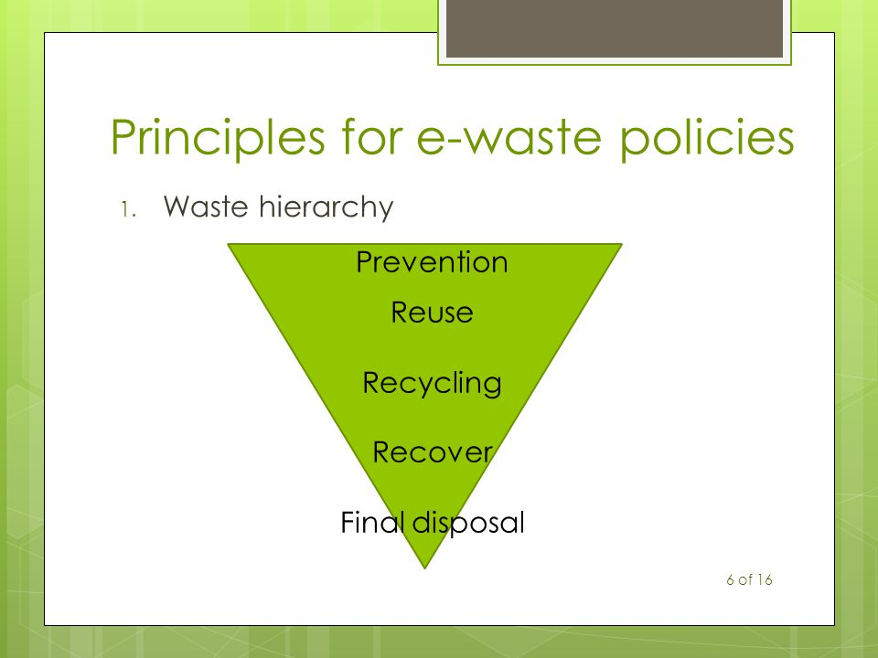 Principles for e-waste policies 1. Waste hierarchy Prevention Reuse Recycling Recover Final disposal 6 of 16