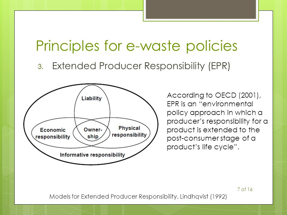 Principles for e-waste policies 3. Extended Producer Responsibility (EPR) Models for Extended Producer Responsibility, Lindhqvist (1992) According to