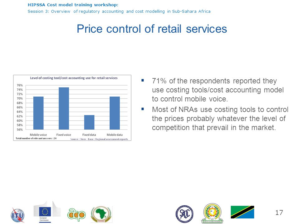 HIPSSA Cost model training workshop: Session 3: Overview of regulatory accounting and cost modelling in Sub-Sahara Africa 17 Price control of retail s