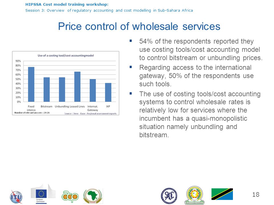HIPSSA Cost model training workshop: Session 3: Overview of regulatory accounting and cost modelling in Sub-Sahara Africa 18 Price control of wholesal