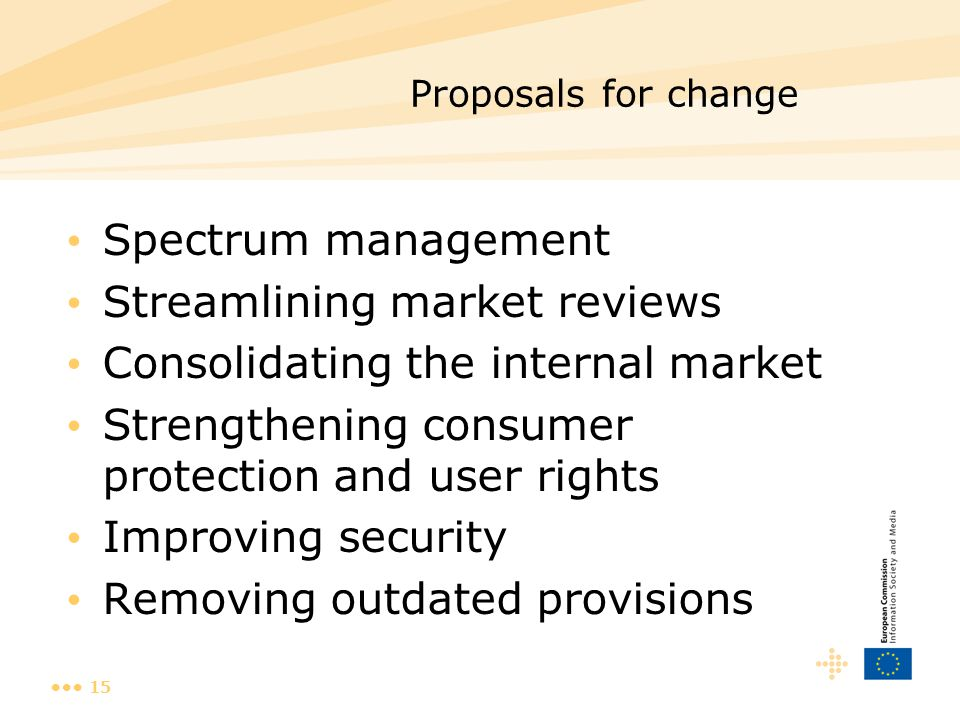 15 Proposals for change Spectrum management Streamlining market reviews Consolidating the internal market Strengthening consumer protection and user r