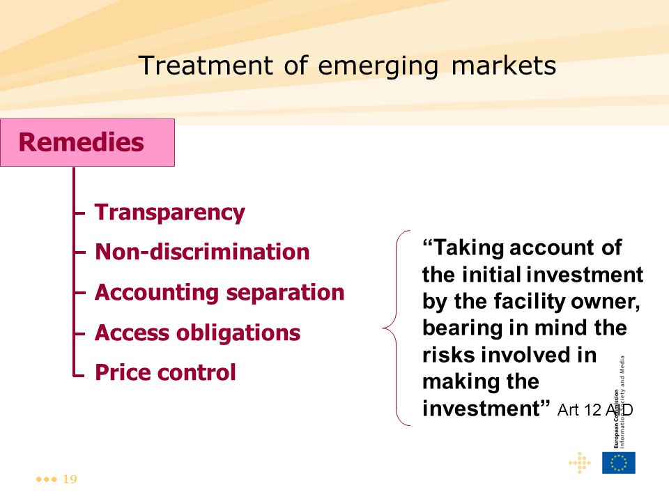 """19 Treatment of emerging markets Remedies Transparency Non-discrimination Accounting separation Access obligations Price control """"Taking account of th"""