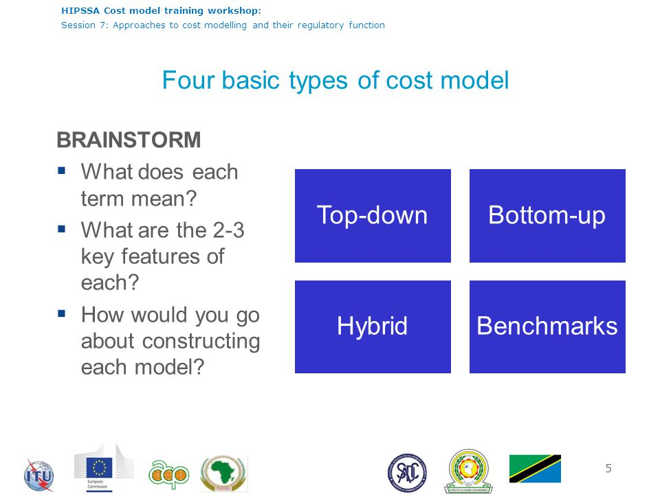 HIPSSA Cost model training workshop: Session 7: Approaches to cost modelling and their regulatory function 6 Top-down cost model Top Down Models Characteristics Source: RTR PURPOSE: derive cost estimates from accounting data provided by incumbent Often confidential company data Based on existing network, potential inefficiencies Embedded historical cost Critical issues  exact separation between core and access network  depreciation period  rate of return  Valuation of assets Real World Data (no assumptions)