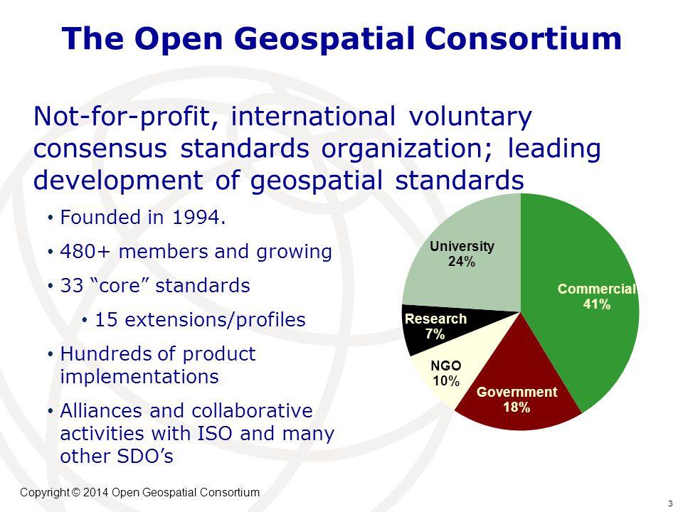 The Open Geospatial Consortium Not-for-profit, international voluntary consensus standards organization; leading development of geospatial standards F