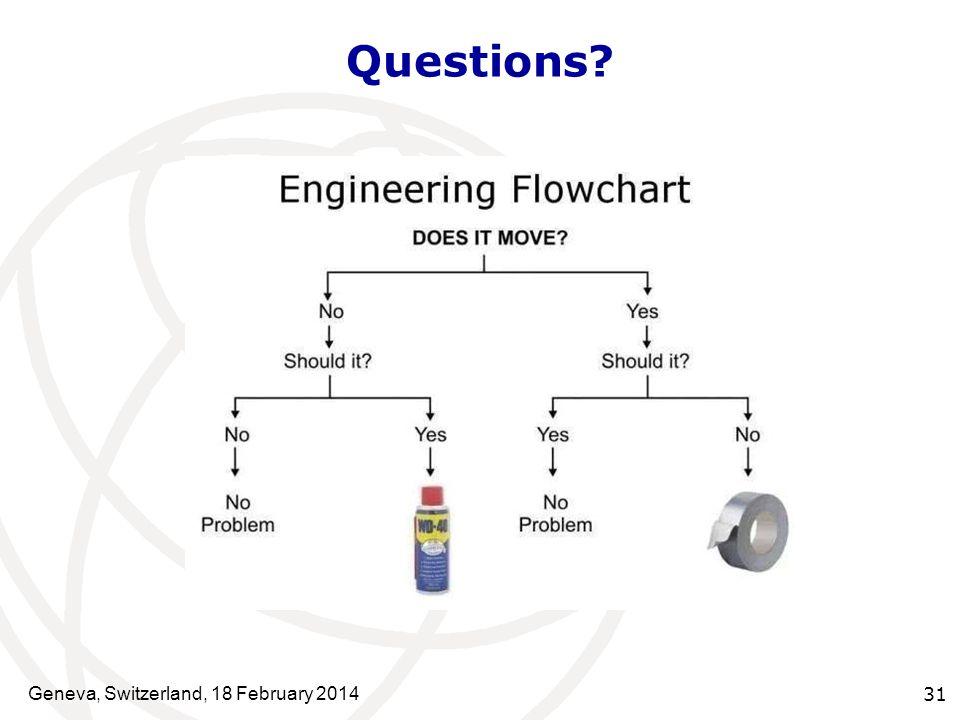 Questions? Geneva, Switzerland, 18 February 2014 31