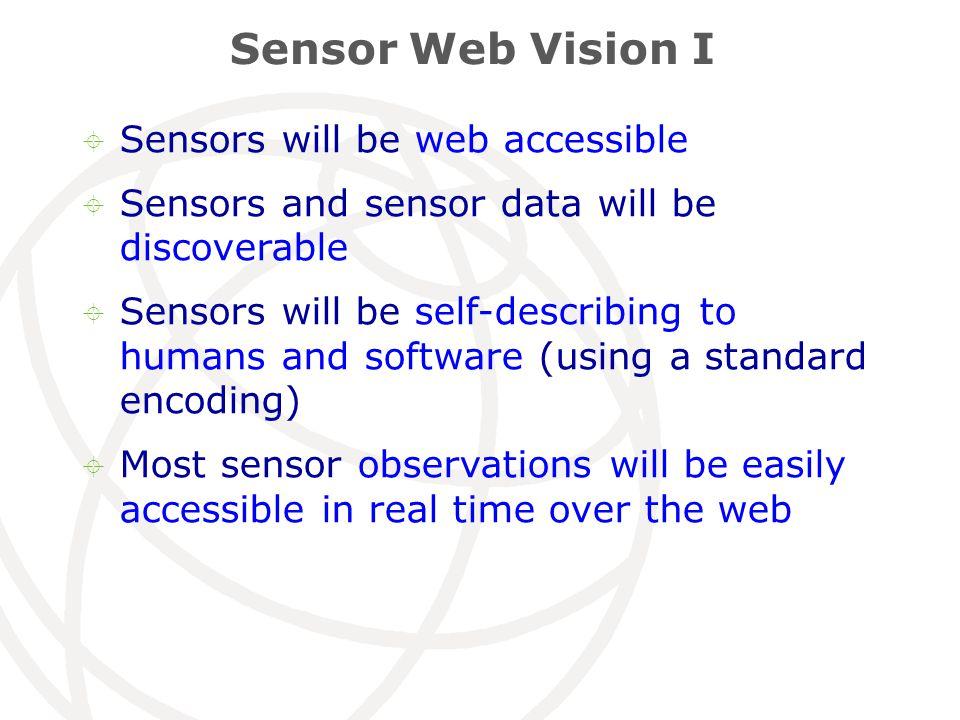 Sensor Web Vision I  Sensors will be web accessible  Sensors and sensor data will be discoverable  Sensors will be self-describing to humans and so