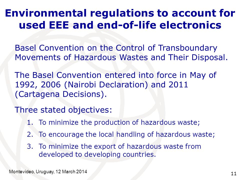 11 Basel Convention on the Control of Transboundary Movements of Hazardous Wastes and Their Disposal.