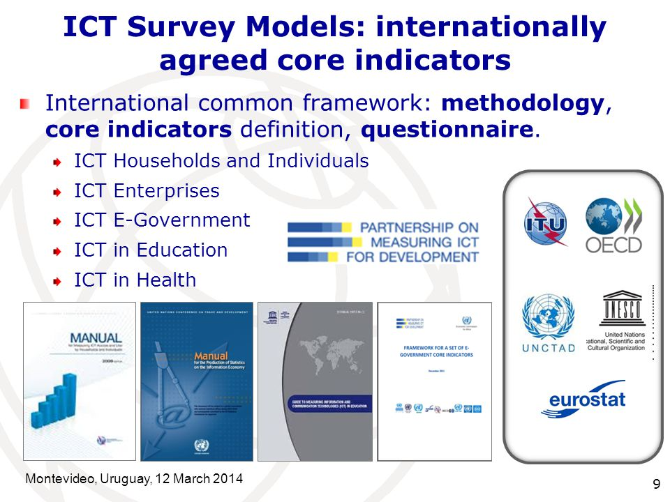 9 International common framework: methodology, core indicators definition, questionnaire.