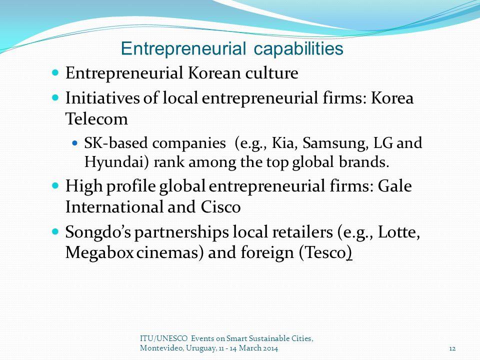 Entrepreneurial Korean culture Initiatives of local entrepreneurial firms: Korea Telecom SK-based companies (e.g., Kia, Samsung, LG and Hyundai) rank among the top global brands.