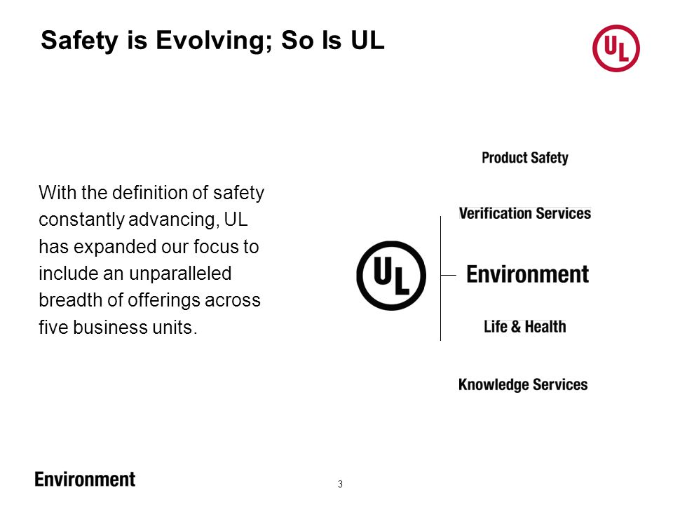 Safety is Evolving; So Is UL 3 With the definition of safety constantly advancing, UL has expanded our focus to include an unparalleled breadth of offerings across five business units.