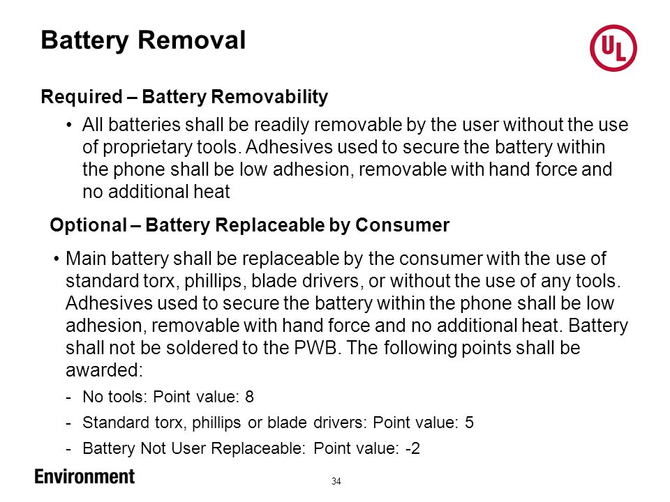 Battery Removal 34 Required – Battery Removability All batteries shall be readily removable by the user without the use of proprietary tools.
