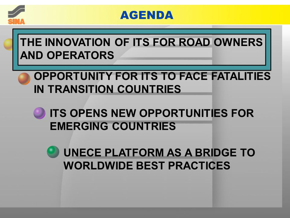 AGENDA THE INNOVATION OF ITS FOR ROAD OWNERS AND OPERATORS ITS OPENS NEW OPPORTUNITIES FOR EMERGING COUNTRIES OPPORTUNITY FOR ITS TO FACE FATALITIES IN TRANSITION COUNTRIES UNECE PLATFORM AS A BRIDGE TO WORLDWIDE BEST PRACTICES