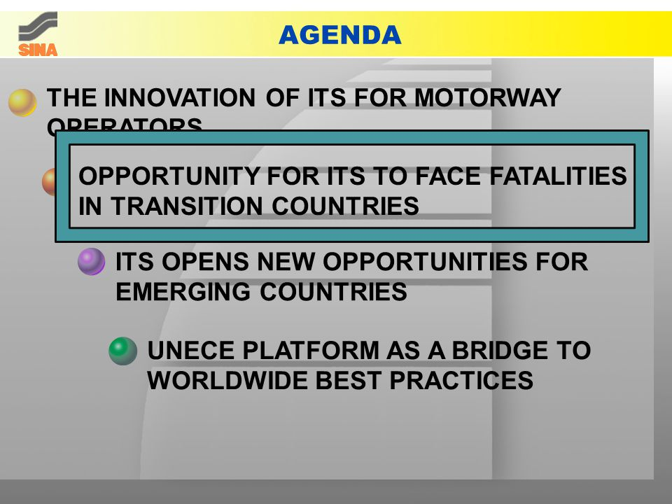 AGENDA THE INNOVATION OF ITS FOR MOTORWAY OPERATORS ITS OPENS NEW OPPORTUNITIES FOR EMERGING COUNTRIES OPPORTUNITY FOR ITS TO FACE FATALITIES IN TRANSITION COUNTRIES UNECE PLATFORM AS A BRIDGE TO WORLDWIDE BEST PRACTICES