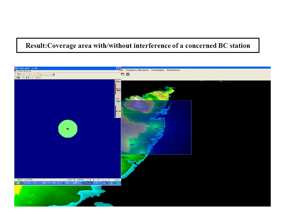 Result:Coverage area with/without interference of a concerned BC station