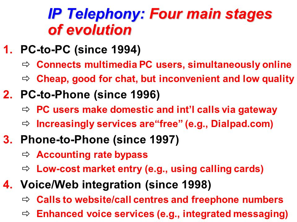 IP Telephony: Four main stages of evolution 1.PC-to-PC (since 1994)  Connects multimedia PC users, simultaneously online  Cheap, good for chat, but inconvenient and low quality 2.PC-to-Phone (since 1996)  PC users make domestic and int'l calls via gateway  Increasingly services are free (e.g., Dialpad.com) 3.Phone-to-Phone (since 1997)  Accounting rate bypass  Low-cost market entry (e.g., using calling cards) 4.Voice/Web integration (since 1998)  Calls to website/call centres and freephone numbers  Enhanced voice services (e.g., integrated messaging)