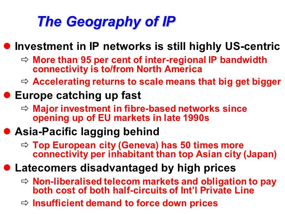 Inter-regional Internet backbone 357 Mbit/s 19'716 Mbit/s Asia- Pacific Latin America & Caribbean 2'638 Mbit/s 127 Mbit/s Arab States, Africa 468 Mbit/s 171 Mbit/s Europe 56'241 Mbit/s USA & Canada Source: TeleGeography Inc., Global Backbone Database.