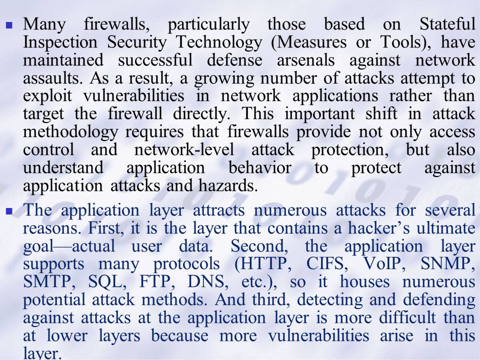 Many firewalls, particularly those based on Stateful Inspection Security Technology (Measures or Tools), have maintained successful defense arsenals a