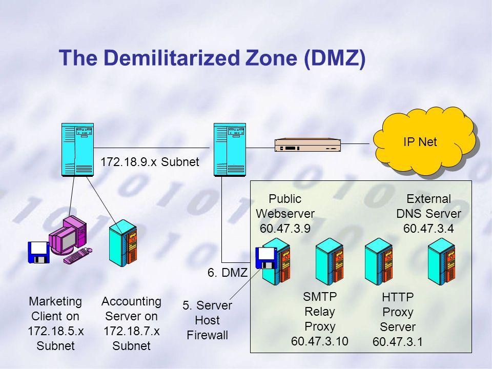 IP Net 172.18.9.x Subnet Marketing Client on 172.18.5.x Subnet Accounting Server on 172.18.7.x Subnet 5. Server Host Firewall 6. DMZ Public Webserver