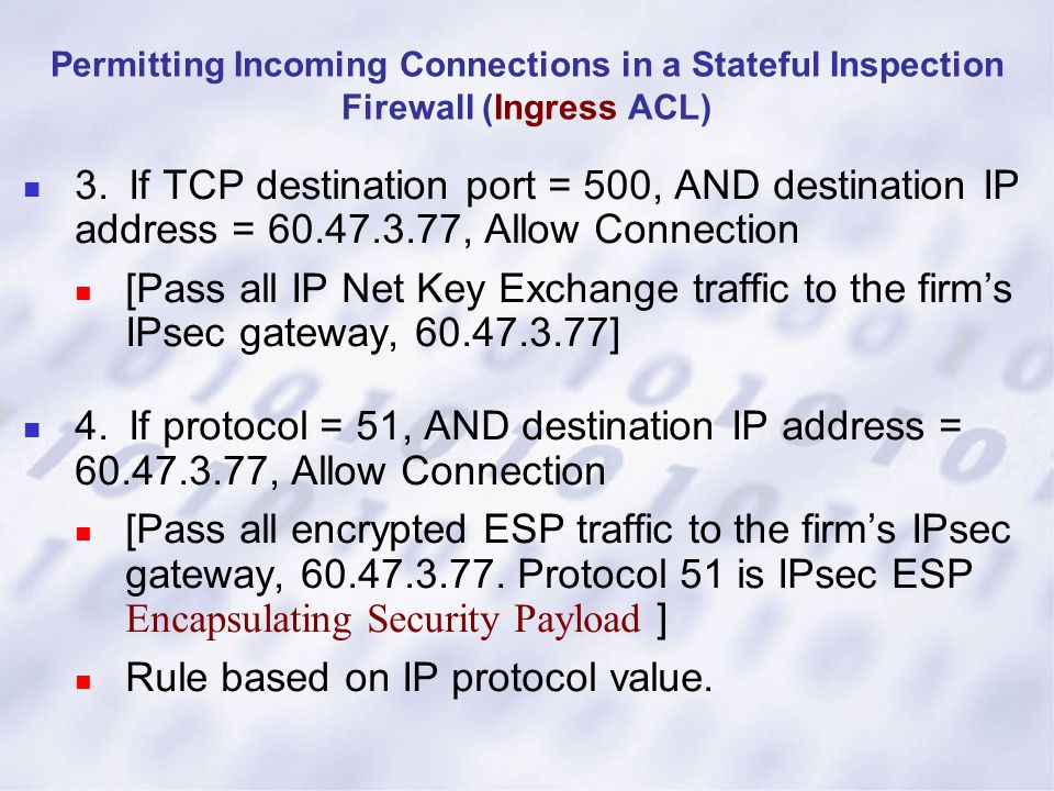 Permitting Incoming Connections in a Stateful Inspection Firewall (Ingress ACL) 3.If TCP destination port = 500, AND destination IP address = 60.47.3.