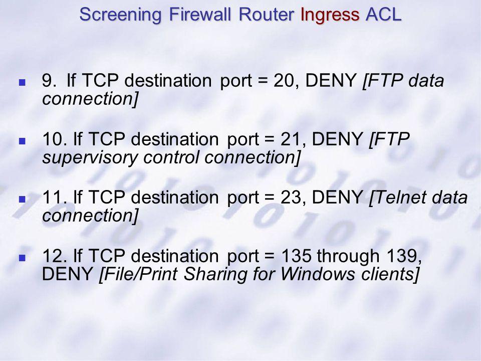 9.If TCP destination port = 20, DENY [FTP data connection] 10. If TCP destination port = 21, DENY [FTP supervisory control connection] 11. If TCP dest