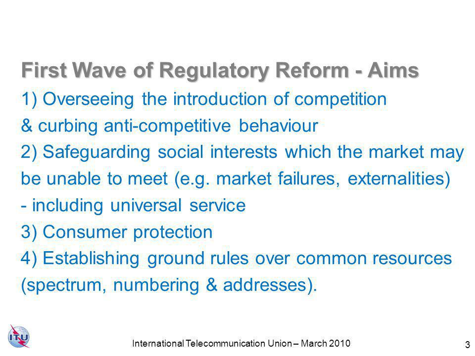 4 First wave of regulatory reform Privately-owned fixed-line incumbents in %, by region, 2009 Growth of Regulators, worldwide 2009 Source: ITU World Telecommunication Regulatory Database.