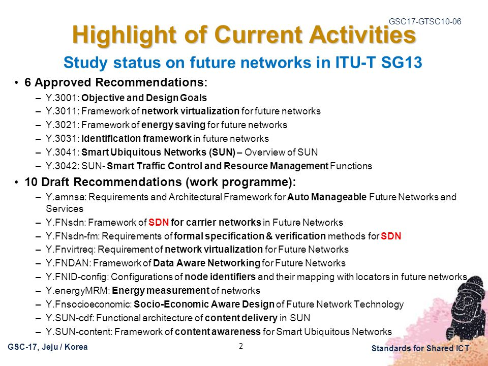 GSC17-GTSC10-06 GSC-17, Jeju / Korea Standards for Shared ICT 2 Highlight of Current Activities Study status on future networks in ITU-T SG13 6 Approved Recommendations: –Y.3001: Objective and Design Goals –Y.3011: Framework of network virtualization for future networks –Y.3021: Framework of energy saving for future networks –Y.3031: Identification framework in future networks –Y.3041: Smart Ubiquitous Networks (SUN) – Overview of SUN –Y.3042: SUN- Smart Traffic Control and Resource Management Functions 10 Draft Recommendations (work programme): –Y.amnsa: Requirements and Architectural Framework for Auto Manageable Future Networks and Services –Y.FNsdn: Framework of SDN for carrier networks in Future Networks –Y.FNsdn-fm: Requirements of formal specification & verification methods for SDN –Y.Fnvirtreq: Requirement of network virtualization for Future Networks –Y.FNDAN: Framework of Data Aware Networking for Future Networks –Y.FNID-config: Configurations of node identifiers and their mapping with locators in future networks –Y.energyMRM: Energy measurement of networks –Y.Fnsocioeconomic: Socio-Economic Aware Design of Future Network Technology –Y.SUN-cdf: Functional architecture of content delivery in SUN –Y.SUN-content: Framework of content awareness for Smart Ubiquitous Networks