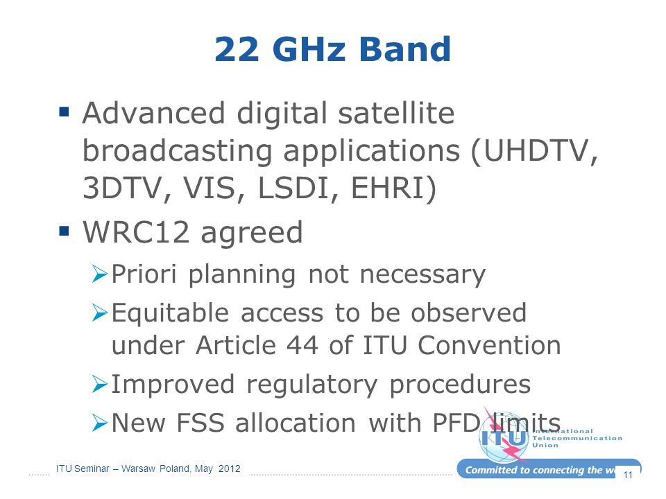 ITU Seminar – Warsaw Poland, May 2012 22 GHz Band  Advanced digital satellite broadcasting applications (UHDTV, 3DTV, VIS, LSDI, EHRI)  WRC12 agreed