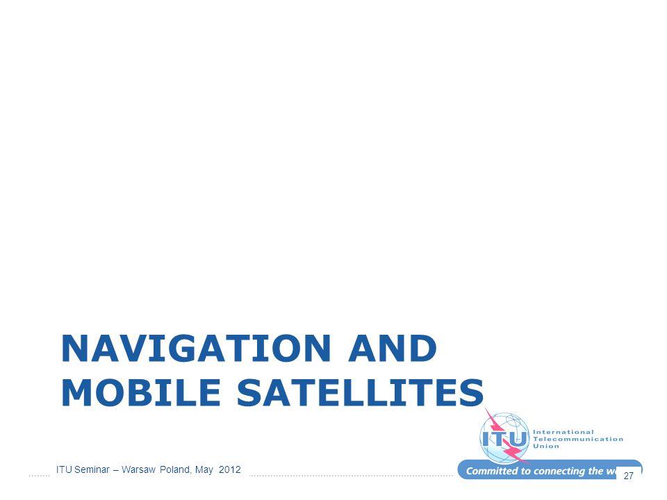 ITU Seminar – Warsaw Poland, May 2012 NAVIGATION AND MOBILE SATELLITES 27