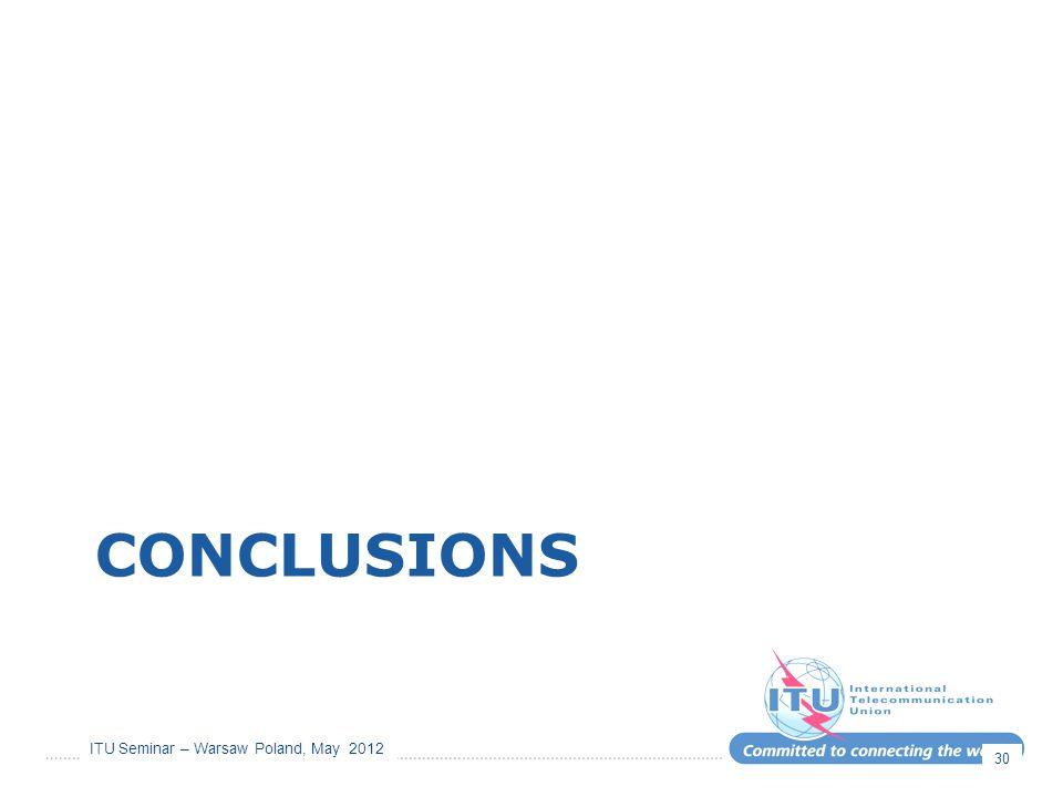 ITU Seminar – Warsaw Poland, May 2012 CONCLUSIONS 30