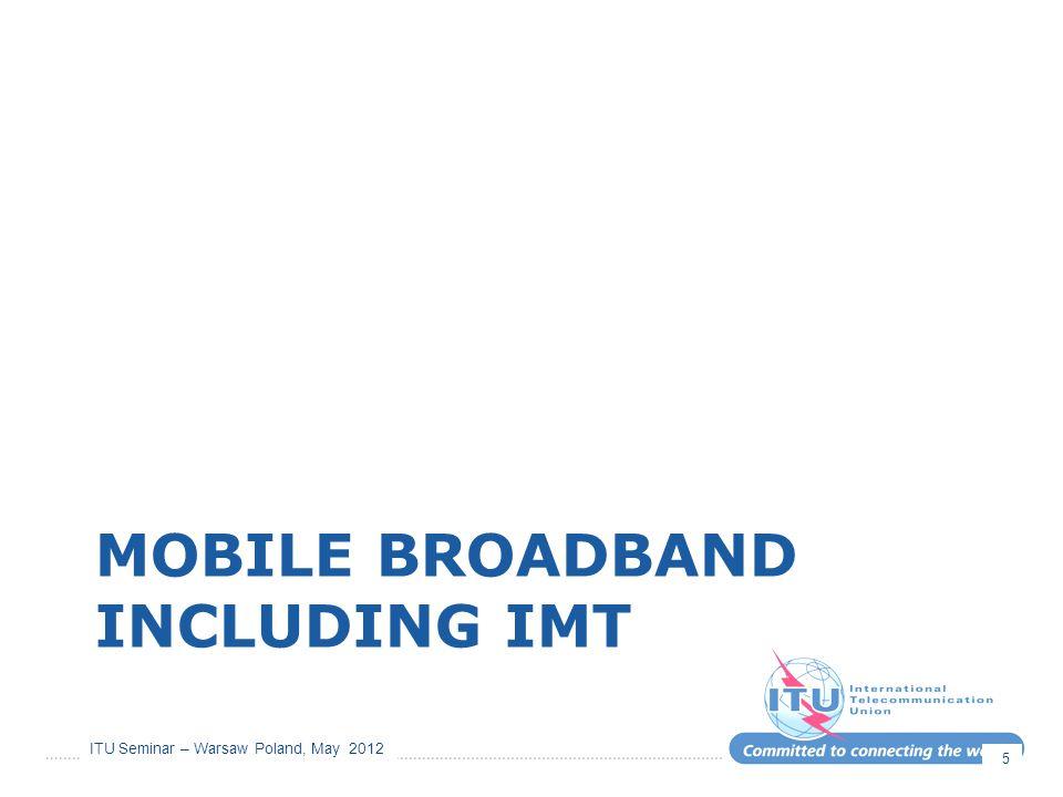 ITU Seminar – Warsaw Poland, May 2012 MOBILE BROADBAND INCLUDING IMT 5