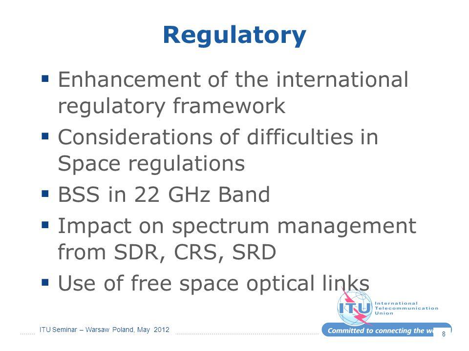 ITU Seminar – Warsaw Poland, May 2012 Regulatory  Enhancement of the international regulatory framework  Considerations of difficulties in Space reg