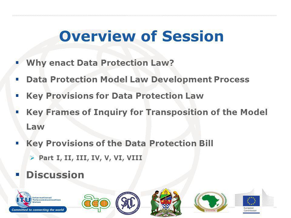 Overview of Session  Why enact Data Protection Law.