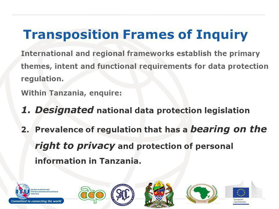 Transposition Frames of Inquiry International and regional frameworks establish the primary themes, intent and functional requirements for data protection regulation.