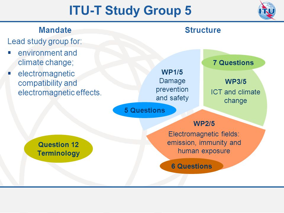 Committed to connecting the world 3 ITU-T Study Group 5 WP1/5 Damage prevention and safety WP2/5 Electromagnetic fields: emission, immunity and human exposure WP3/5 ICT and climate change 5 Questions 6 Questions 7 Questions Mandate Lead study group for:  environment and climate change;  electromagnetic compatibility and electromagnetic effects.
