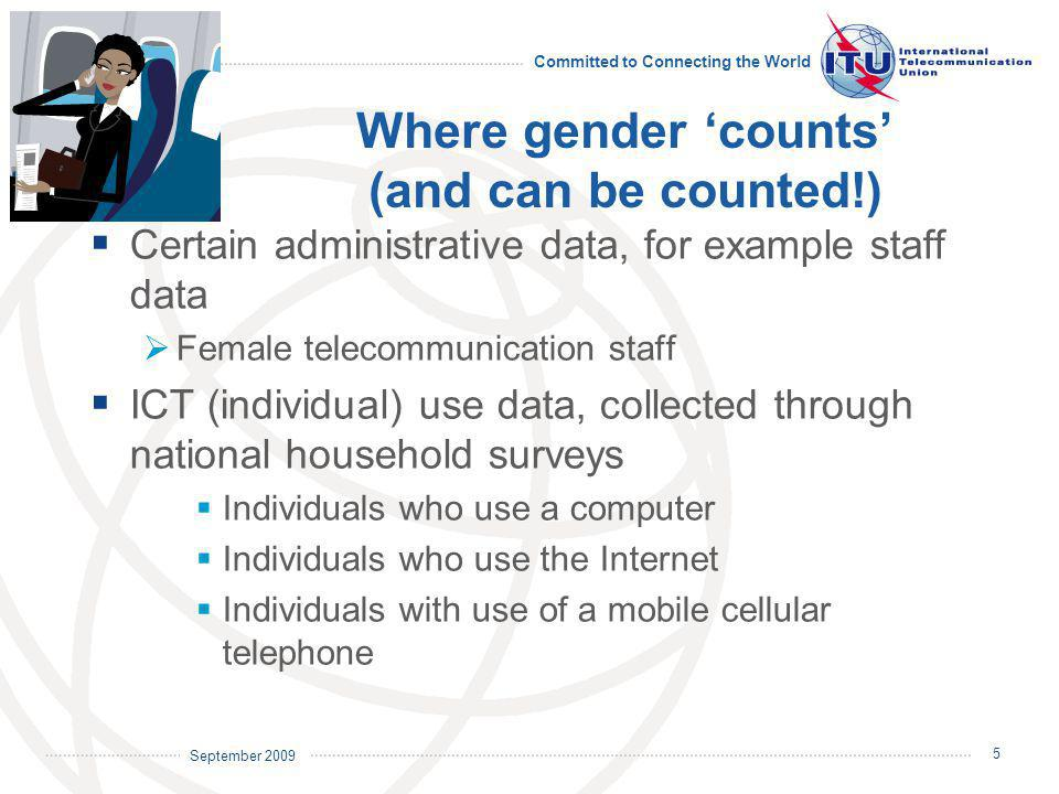 September 2009 Committed to Connecting the World 6 Female telecommunication staff  About 65% of countries collect gender-disaggregated data on telecommunication staff  Data often refer only to (former) incumbent  Data suggest that the percentage of female staff varies across regions but data do not distinguish between level of staff (professional, administrative) Source: ITU WTI database.