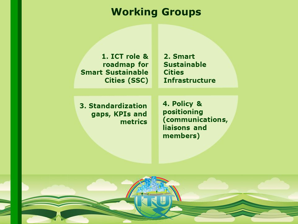 International Telecommunication Union Committed to connecting the world Working Groups 1.