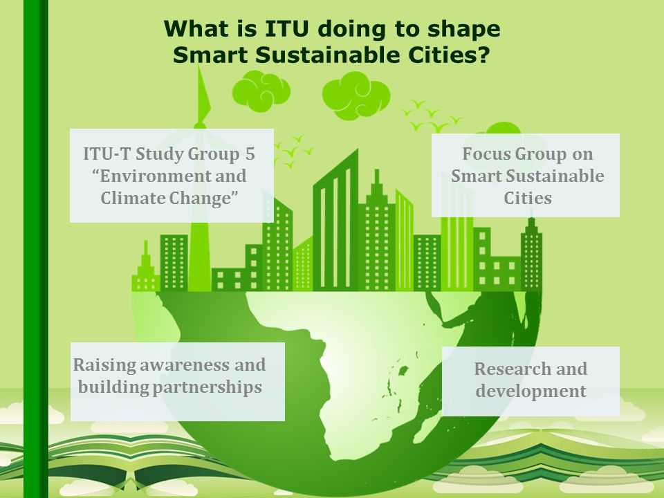 International Telecommunication Union Committed to connecting the world What is ITU doing to shape Smart Sustainable Cities.