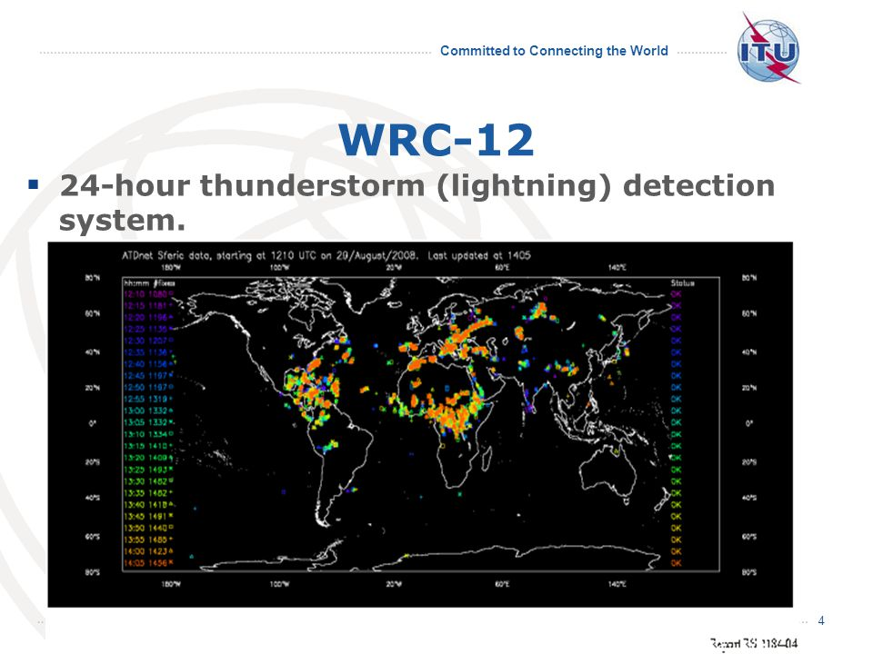 Committed to Connecting the World WRC-12  24-hour thunderstorm (lightning) detection system. 4