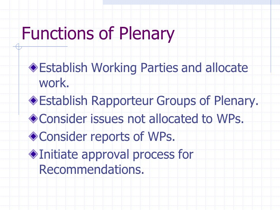 Functions of Plenary Establish Working Parties and allocate work.